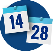 Day 14 and Day 28 follow up calendar dates